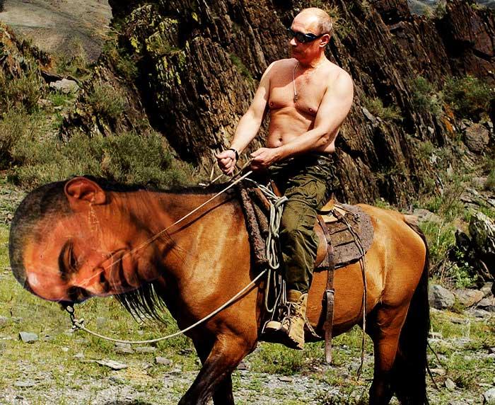 Putin riding Obama as a Horse