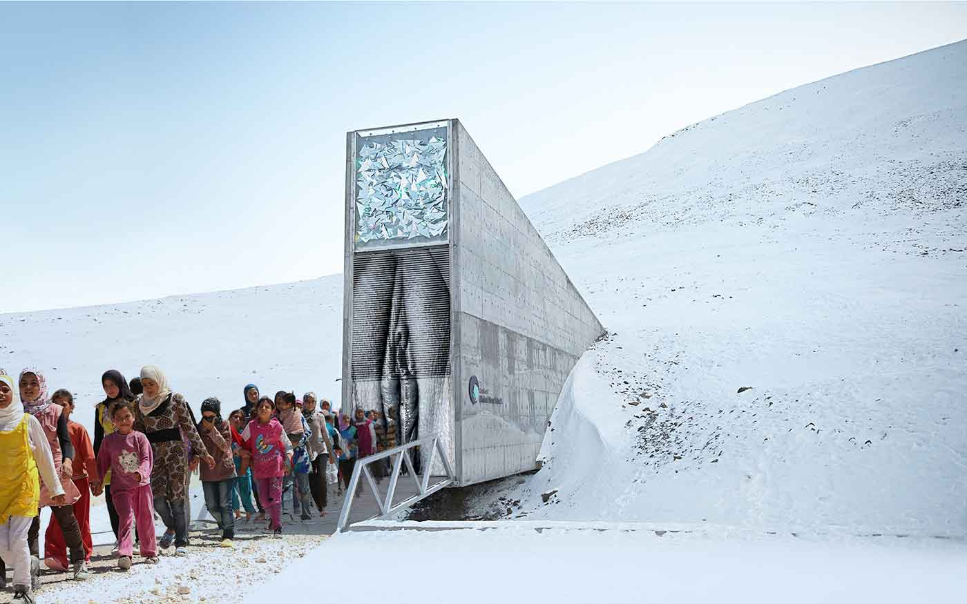 Arctic doomsday seed vault vagina with Syrian refugee withdrawal
